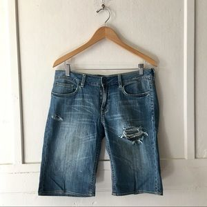 Distressed Mid Rise Stretch Bermuda Jean Shorts